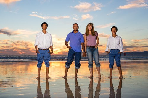 Venice Beach Family Photographer - Four Standing in front of sunset