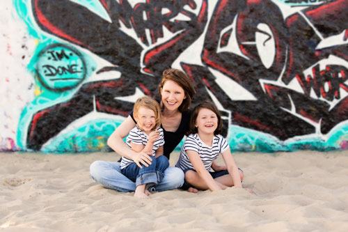 Venice Beach Family Photographer - Mom with Two girls in front of grafitti