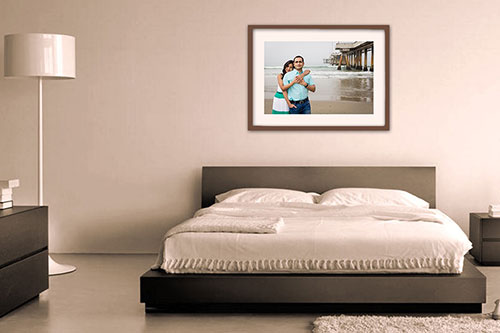 Matted Framed Prints on Wall Bedroom