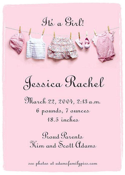 Graphic Design - Baby Girl Announcment