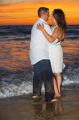 Manhattan Beach Engagement Photographer -  Standing in Water at Sunset