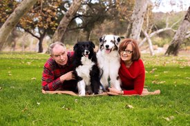 Los Angeles Couples Photographer -  with Two Dogs in the Park