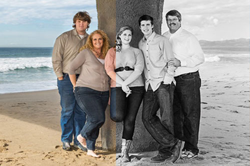 Family Photographer in Manhattan Beach - Converting color to black and white