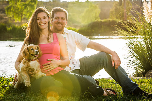 Los Angeles Maternity Photographer - Pregnant couple with dog