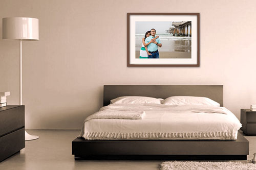 Matted Framed Prints on Wall in Bedroom